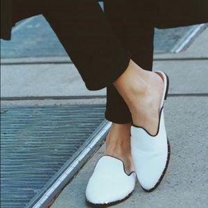Shoes - Alexa Trendy Vegan Leather White Ballerina Mules